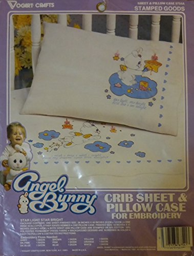 (Angel Bunny Crib Sheet and Pillow Case Embroidery)