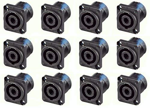 - 12 Geniune Neutrik NL4MP 4-Pole Locking Speakon Chassis Panel Mount, Solder Tabs