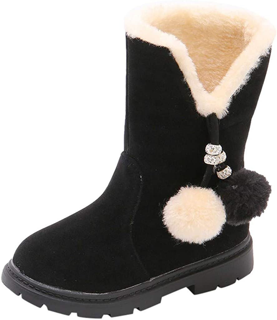 Infant Baby Toddler Kids Girls Warm Fur Fluffy Snow Boots Chelsea Martin Shoes