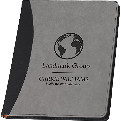 Faux Leather Business Portfolio or Padfolio Folio Grey Writing Pad, Professional Notepad Organizer, Women or Men Executive Letter Sized Notebook Binder, Custom Logo, Up to Three Line and Name - Padfolio Junior Iii