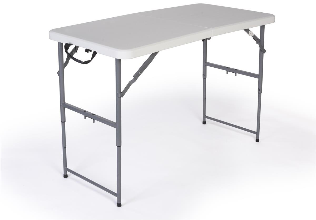 Displays2go Adjustable Height Folding Table, 4-Feet, White