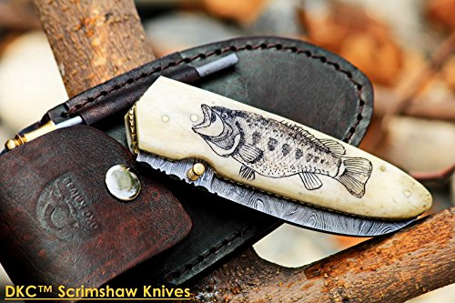 Bass Pocket Knife - DKC-614 BASS MAN BONE Damascus Scrimshaw Bass Fishing Folding Pocket Knife 5