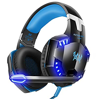VersionTECH. G2000 Gaming Headset, Surround Stereo Gaming Headphones with Noise Cancelling Mic, LED Lights & Soft Memory Earmuffs, Works with Xbox One, PS4, Nintendo Switch, PC Mac Computer Games