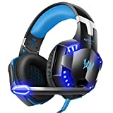 VersionTech G2000 Stereo Gaming Headset for Xbox one PS4 PC, Noise Cancelling Over-Ear Headphones with Mic, LED Lights, Surround Sound, Volume Control for Laptop, Mac, iPad, Computer, Nintendo Switch, Wii U, -Blue