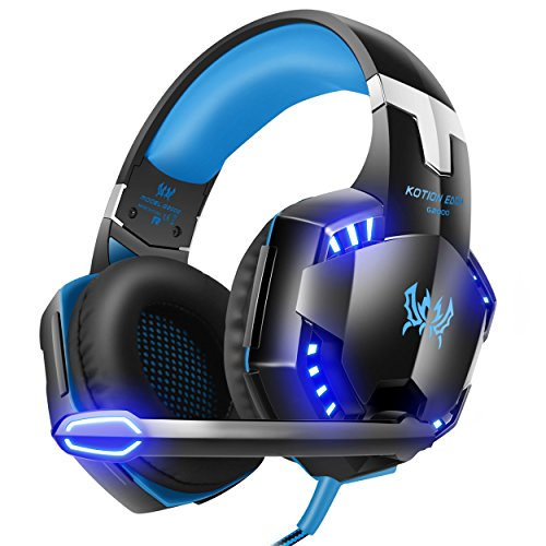 VersionTech G2000 Stereo Gaming Headset for PS4 Xbox One, Bass Over-Ear Headphones with Mic, LED Lights and Volume Control for Laptop, PC, Mac, iPad, Computer, Smartphones, Blue (Old Computer Games)