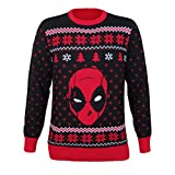 Marvel Men's Ugly Christmas Sweater, Deadpool/Red, Large
