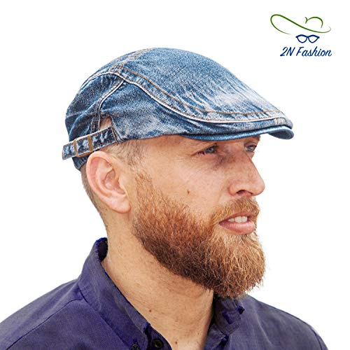 2NFashion Gatsby Newsboy Cabbie Beret Caps for Men Premium Denim Material Adjustable Size Ivy Tweed Irish Caps Ideal for Driving Travelling Or Any Outside - Ivy Denim Cap