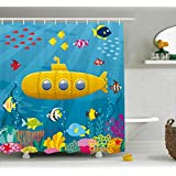 Yellow Submarine Shower Curtain Set by Ambesonne, Coral Reef with Colorful Fish Ocean Life Marine Creatures Tropical Kids, Fabric Bathroom Decor with Hooks, 70 Inches, Blue Yellow Pink