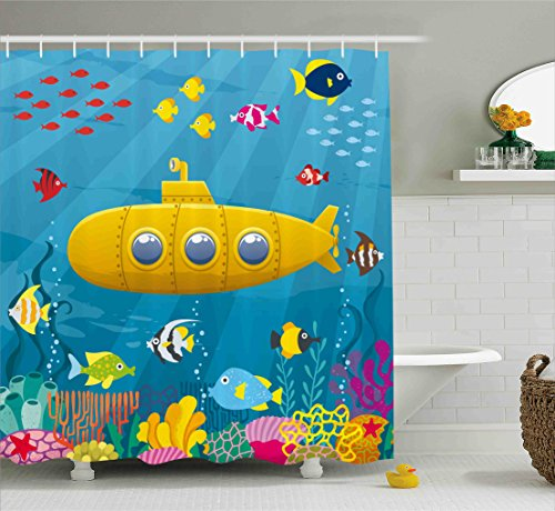 Yellow Submarine Shower Curtain Set by Ambesonne, Coral Reef with Colorful Fish Ocean Life Marine Creatures Tropical Kids, Fabric Bathroom Decor with Hooks, 84 Inches Extra Long, Blue Yellow (Long Fish)