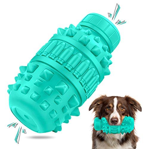 BEERIO Dog Chew Toys for Aggressive Chewers Large Breed Indestructible Dog Squeak Teeth Cleaning Toothbrush Toys for Medium and Large Dogs Rubber Interactive Puzzle Dog Toys