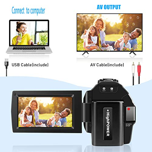 toberto Video Camera Camcorder Full HD 1080P 30FPS Digital Camera 16X Digital Zoom Camcorder Vlogging Camera for YouTube 3.0 Inch LCD 270 Degrees IPS Screen LED with 2 Batteries