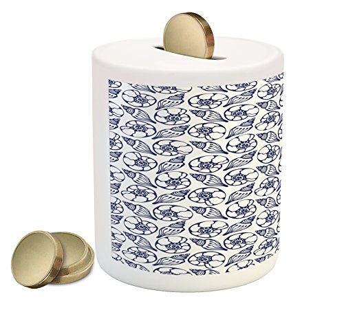 Price comparison product image Lunarable Blue and White Coin Box Bank, Hand Drawn Nautical Pattern Aquatic Underwater Wildlife Illustration, Printed Ceramic Coin Bank Money Box for Cash Saving, Navy Blue White