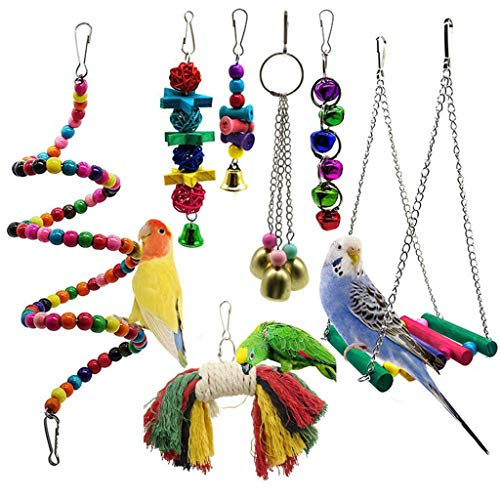 Clearance On Sale!Jiayit Fashion Bird Toy Bell Swing Bird Cage Pendant Colorful Bridge Pet 7PC Combination Suit Interesting Practical ()