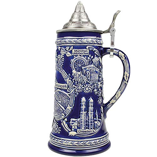 Cobalt Blue Olympia Parks .85L Lidded Stein