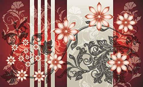 Red and Grey Luxury Flower Pattern Wallpaper Mural by Consalnet (Image #1)