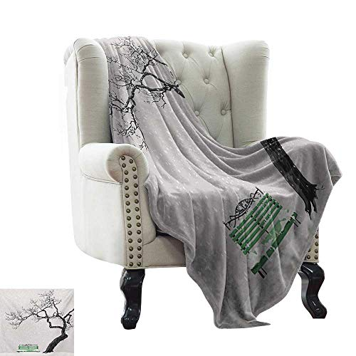 Brookstone Bench - Throw Blanket for Couch Tree,Dramatic Winter Scenery with Retro Bench and Lonely Tree in a Cold Day,Charcoal Grey Sea Green Warm & Hypoallergenic Washable Couch/Bed Throws 60