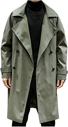LINGMIN Mens Double Breasted Business Jacket Notched Lapel Slim Fit Outwear Pea Coats