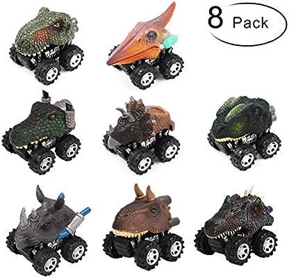 PROACC Juego de 8 Coches Dinosaurios, plástico Tire hacia Atrás de ...