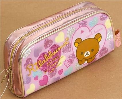 Estuche lápices osito Rilakkuma corazones purpurina, Japón ...