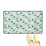 Door Mats,Colorful Daisies and Ladybirds Image Good Luck Charm Discover Your True Self Concept,Customize Bath Mat with Non Slip Backing,Multi,32