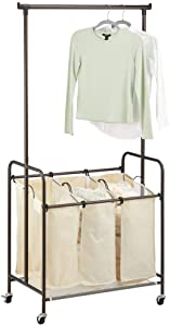 mDesign Portable Laundry Sorter with Wheels and Attached Steel Hanging Bar - 3 Compartment Design, Polyester Fabric - Cream/Bronze