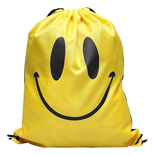 [DrawString Pouch Beach Bag Sport Travel Swim Gym Duffle Waterproof Backpack New (Yellow Smile)] (Doctor Barbie Costume)