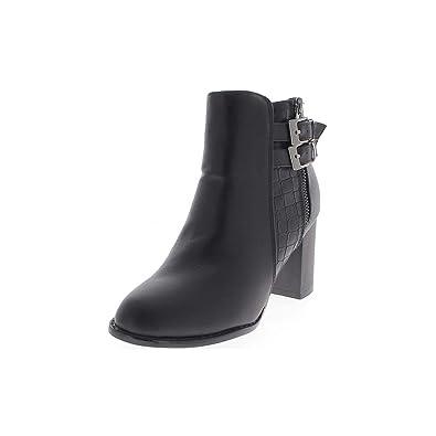 b314a498e30e ChaussMoi Schwarze Frauen Stiefel im Großen 8 cm glänzendem Leder Aussehen  Ferse