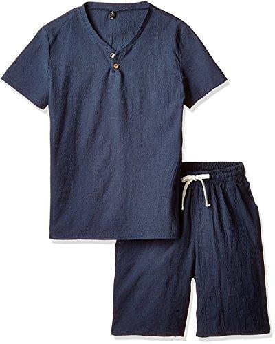 (アルファーフープ) α-HOOP 無地 柄 半 袖 シャツ ハーフ ショートパンツ 上下 セット アップ メンズ 部屋着 PP-3…
