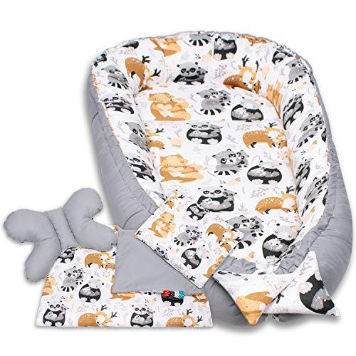 Palulli Premium knuffelnestset incl. babynest 90 x 50 uitneembare inleg knuffeldeken nekkussen plat kussen voor baby's…