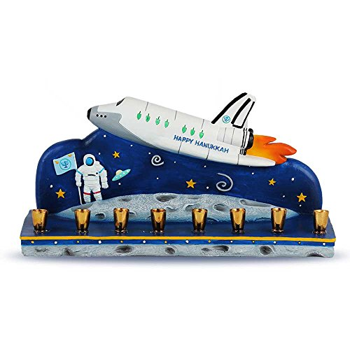 Zion Judaica Polyresin Spaceship Menorah - Chanukah in Outer Space