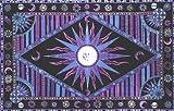 Blue & Lavender Celestial Indian Bedspread, Double Size