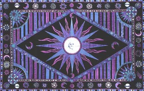 Blue & Lavender Celestial Indian Bedspread, Double Size