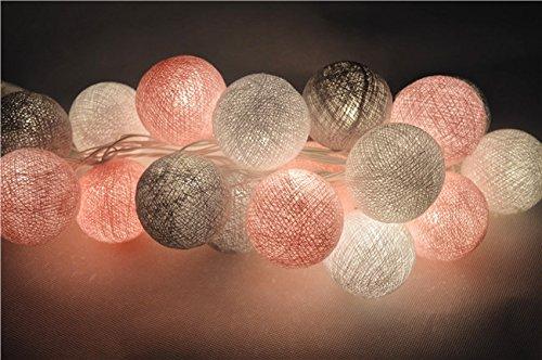 CHAINUPON 20 Cotton Ball String Fairy Night Lights Kid Bedroom,Home,Decor,Boys Girls Plug in Lights (Gray - Home Decor Girl
