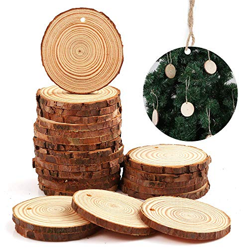 Wooden Slice - Natural Wood Slices Craft Wood kit Unfinished Predrilled with Hole Wooden Circles Great for Arts and Crafts Christmas Ornaments DIY Crafts 25pcs 2.8-3 inch