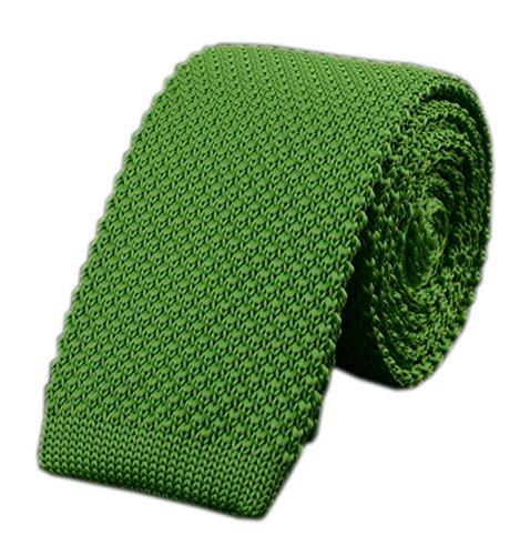 (Mens Spring Tender Green Jacquard Silk Ties Vintage Knit Skinny Designer Necktie)