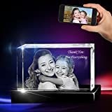 3D Cube Crystal with a Free LED Base That Illuminates The Crystal, Personalize with Your own Custom Engraving (Small Landscape)