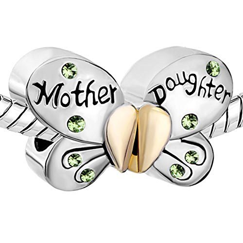 Pugster Silver Plated Mother Daughter Charms Separable Butterfly Bead Fits Pandora Charms Bracelet (Light Green)
