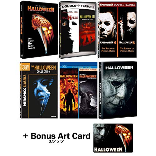 Halloween: Ultimate 11 Movie Collection: Complete Original + Rob Zombie Remakes + 2018 Sequel DVD Series + Bonus Art Card -