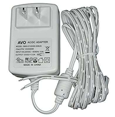 AVO 12VD300W - 12V DC 3A White Wall Plug DC Adapter / Power Supply, Input: 100-240VAC 50/60Hz, Non-Terminated 10 Foot Parallel Zip Cord Lead Wire
