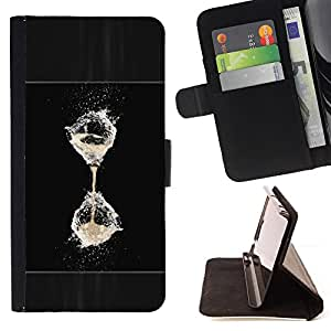 - Water Refreshing Black White Hourglass Balloon - - Monedero PU titular de la tarjeta de cr????dito de cuero cubierta de la caja de la bolsa FOR Apple Iphone 6 RetroCandy