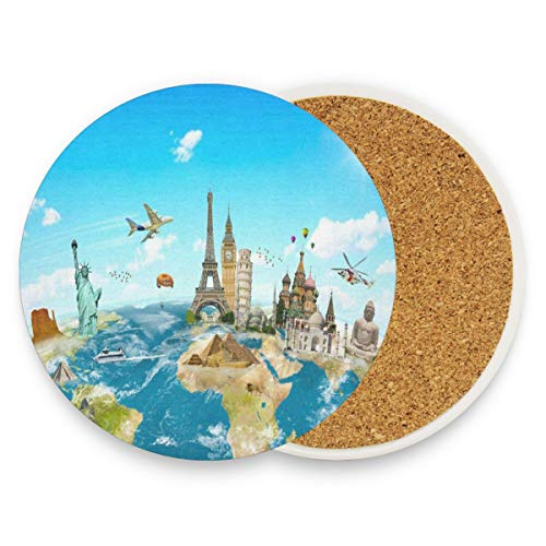 LoveBea Cartoon World Map Eiffel Tower Coasters, Protection for Granite, Glass, Soapstone, Sandstone, Marble, Stone Table - Perfect Wood Coasters,Round Cup Mat Pad for Home, Kitchen Or Bar 1 Piece]()
