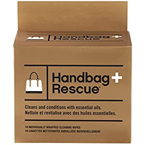 HandBagRescue All-Natural Cleaning Wipe for Leather and Fabric Handbags. Removes Dirt, Grime and Surface Stains. Box of 10 Individually Wrapped Wipes.
