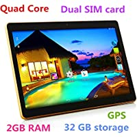 10 inch 3G Phablet Quad Core 32GB ROM 2GB RAM Call Phone Android 7.0 Tablet PC, Unlocked Dual Sim Card Slots, Bluetooth, GPS, WiFi, Resolution 1920x1080 Display Ips Screen AU-107 -Black