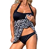 Eternatastic Women's Zebra Tankini Swimwear With Panty Swimsuit Dress