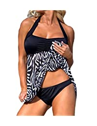Eternatastic Women's Zebra Tankini Swimwear With Panty Swimsuit Dress