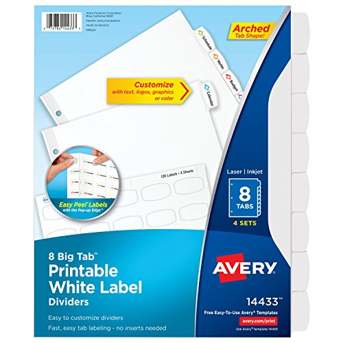 Avery Big Tab Printable White Label Dividers with Easy Peel, 8 Tabs, 4 Sets (14433) Avery Index Maker White Dividers