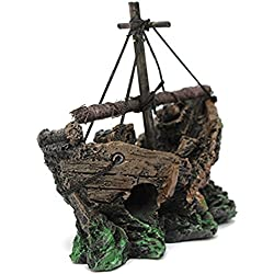 Corner Biz Aquarium - Fish Tank Shipwreck Lost Cruise Ship Asian Decoration