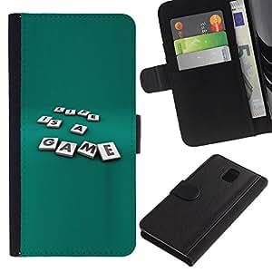 YiPhone /// Tirón de la caja Cartera de cuero con ranuras para tarjetas - La vida es un juego - Samsung Galaxy Note 3 III