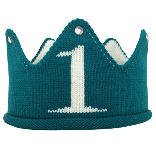 Lujuny Knit 1st Birthday Hat - Soft Baby Crown Headband Cap for Party Costume Photoshoot (GREEN)