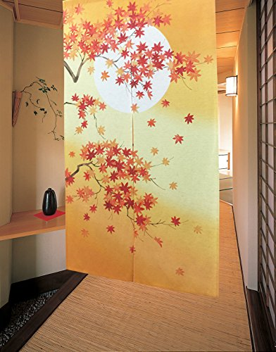 - LIGICKY Japanese Noren Long Type Doorway Curtain Door Tapestries for Home Decoration 33.5 x 59 inch (Autumn Maple Leaves and Full Moon)